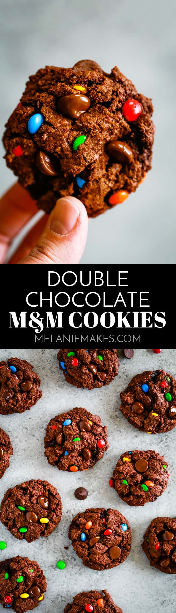 A cocoa infused chocolate chip cookie dough batter is bedazzled with dark chocolate chips and M&Ms candy to make these amazing Double Chocolate M&M Cookies. #cookies #candy #desserts #chocolate #easyrecipe