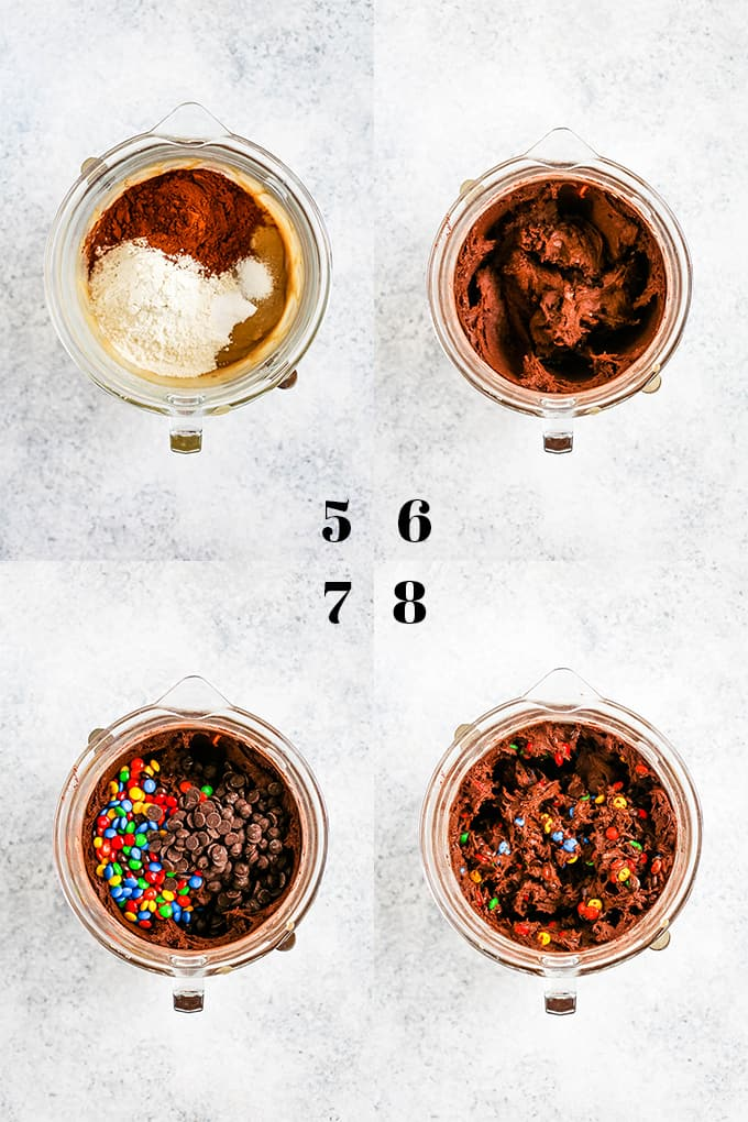 How to prepare Double Chocolate M&M Cookies, steps 5-8.