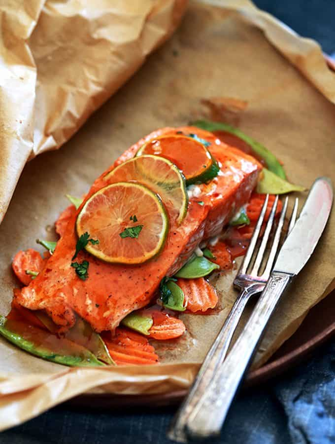Thai Sweet Chili Glazed Salmon in Parchment | Melanie Makes