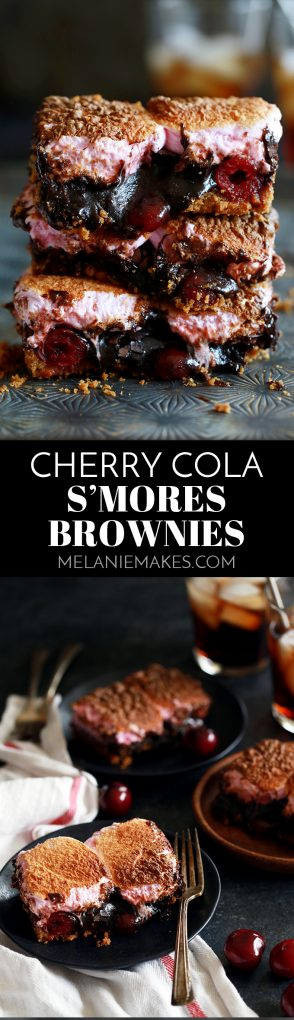 These Cherry Cola S'mores Brownies are the perfect dessert mashup. A buttery, graham cracker base is topped with a cherry cola spiked brownie batter, dark chocolate candy bars and maraschino cherries before being topped with a pillowy layer of cherry flavored marshmallows. They're pretty much heaven in brownie form!