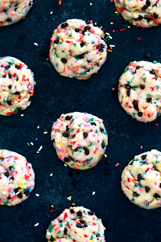 With just five ingredients and a quick stir, these Funfetti Chocolate Chip Cake Mix Cookies come together in no time. A soft and pillowy cookie is studded with candy sprinkles and mini chocolate chips to create one of the easiest - and most fun! - cookies to ever grace your jar.