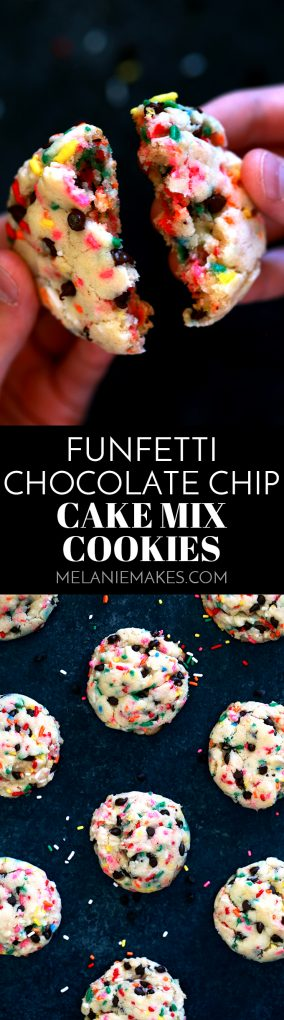 With just five ingredients and a quick stir, these Funfetti Chocolate Chip Cake Mix Cookies come together in no time. A soft and pillowy cookie is studded with candy sprinkles and mini chocolate chips to create one of the easiest - and most fun! - cookies to ever grace your jar. #funfetti #chocolatechip #chocolate #cakemix #cookies #chocolatechipcookies #easydessert