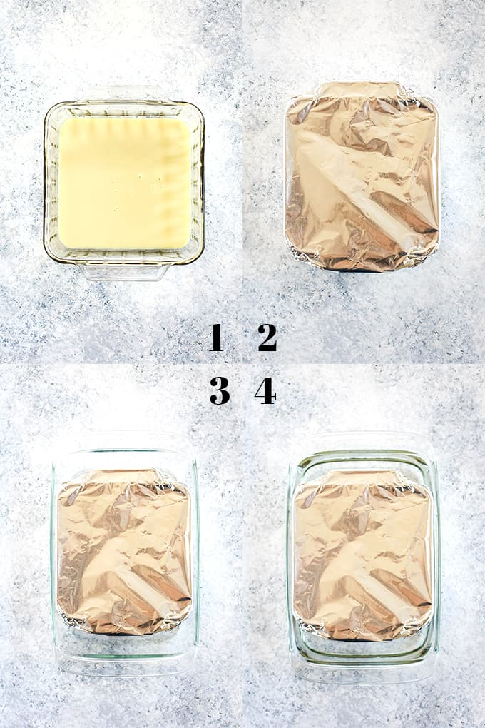 How to make dulce de leche from sweetened condensed milk, steps 1-4.