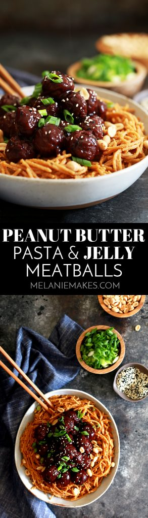 These four ingredient Peanut Butter Pasta and Jelly Meatballs are perfect for lunch boxes or a fun and quick weeknight meal.  Garnished with green onions, peanuts and sesame seeds, this recipe packs a flavorful punch in just 20 minutes.