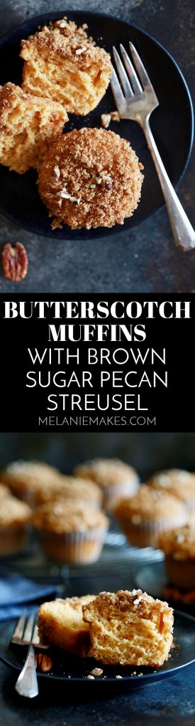 These Butterscotch Muffins with Brown Sugar Pecan Streusel are totally bakery worthy.  These incredibly velvety muffins get their soft and heavenly texture from instant pudding mix and they're then piled high with streusel.  In other words, you'll want to serve these muffins for breakfast, brunch or any other time a baked good is needed.