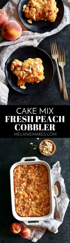 In just 15 minutes, this Cake Mix Fresh Peach Cobbler is ready for the oven.  Fresh peaches are bathed in brown sugar, almond extract, peach juice and butter before being stirred together with a yellow cake mix.  Vanilla ice cream or whipped cream is an absolute must to top this delicious dessert!