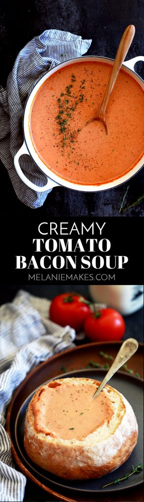This ten ingredientCreamy Tomato Bacon Soup not only tastes amazing, but it also uses common ingredients already in your pantry and fridge. #soup #tomatoes #bacon #comfortfood #easyrecipe #easydinner
