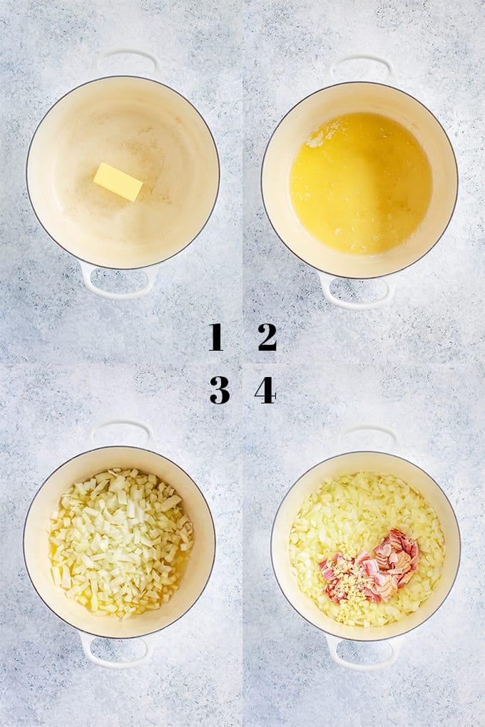 How to prepare Creamy Tomato Bacon Soup, steps 1-4.