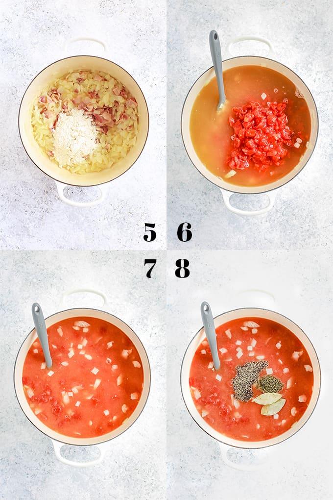 How to prepare Creamy Tomato Bacon Soup, steps 5-8.