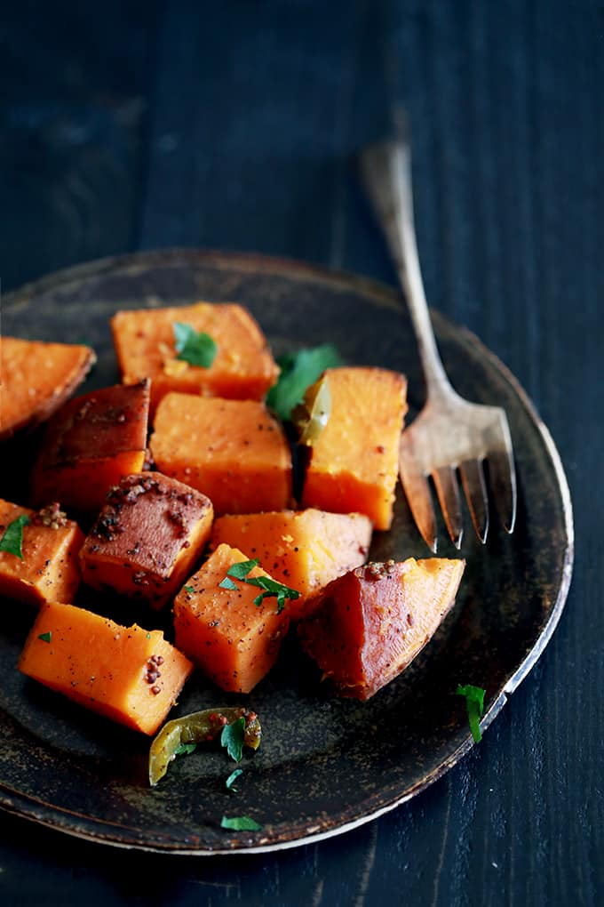 Slow Cooker Spicy Molasses Sweet Potatoes - Melanie Makes