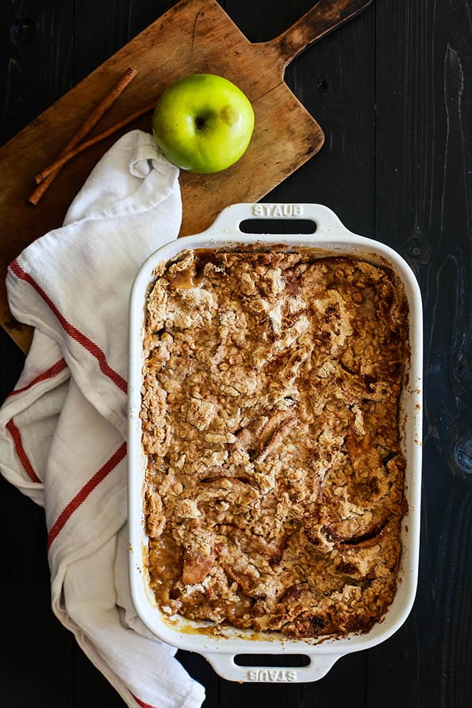 What's the secret shortcut that makes my Snickerdoodle Apple Crisp so incredibly easy? A packaged cookie mix! Just 15 minutes of prep yields this must have autumn inspired dessert.