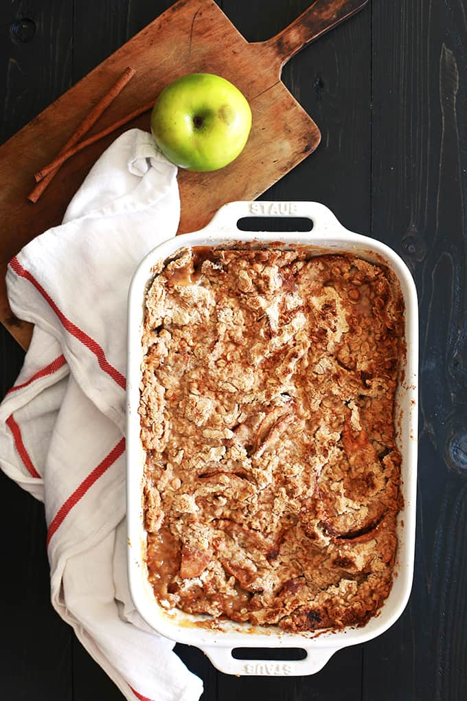 What's the secret shortcut that makes my Snickerdoodle Apple Crisp so easy? A packaged cookie mix. Sliced Granny Smith apples are bathed in orange juice and sprinkled with cinnamon and sugar before being covered with a snickerdoodle cookie mix and oatmeal and drizzled in melted butter. And yes, it's every bit as delicious as it sounds!