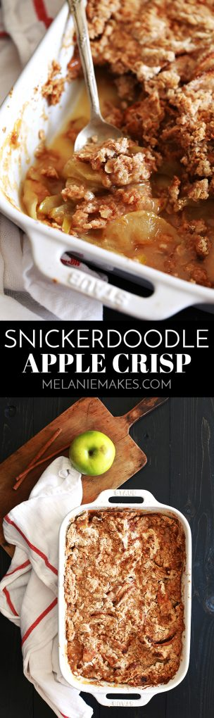 What's the secret shortcut that makes my Snickerdoodle Apple Crisp so easy?  A packaged cookie mix.  Sliced Granny Smith apples are bathed in orange juice and sprinkled with cinnamon and sugar before being covered with a snickerdoodle cookie mix and oatmeal and drizzled in melted butter.  And yes, it's every bit as delicious as it sounds! #snickerdoodle #apple #applecrisp #autumn #fall #easydessert #cookie