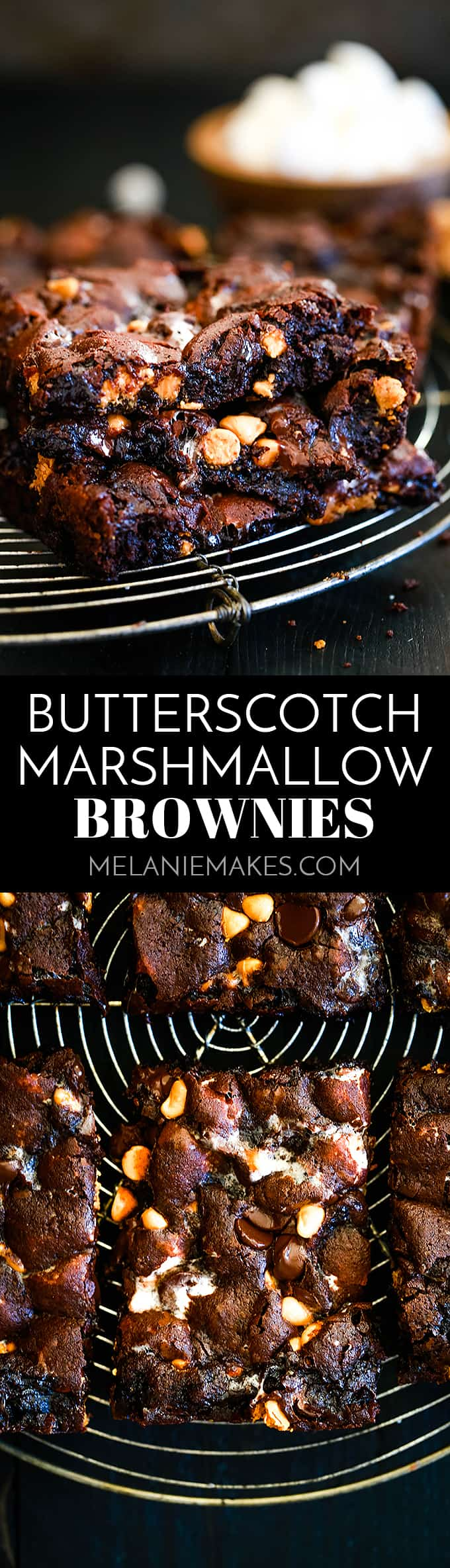 These Butterscotch Marshmallow Brownies have an indulgent brownie base studded with marshmallows and showered with dark chocolate and butterscotch chips. #chocolate #brownies #butterscotch #marshmallow #desserts #easyrecipe