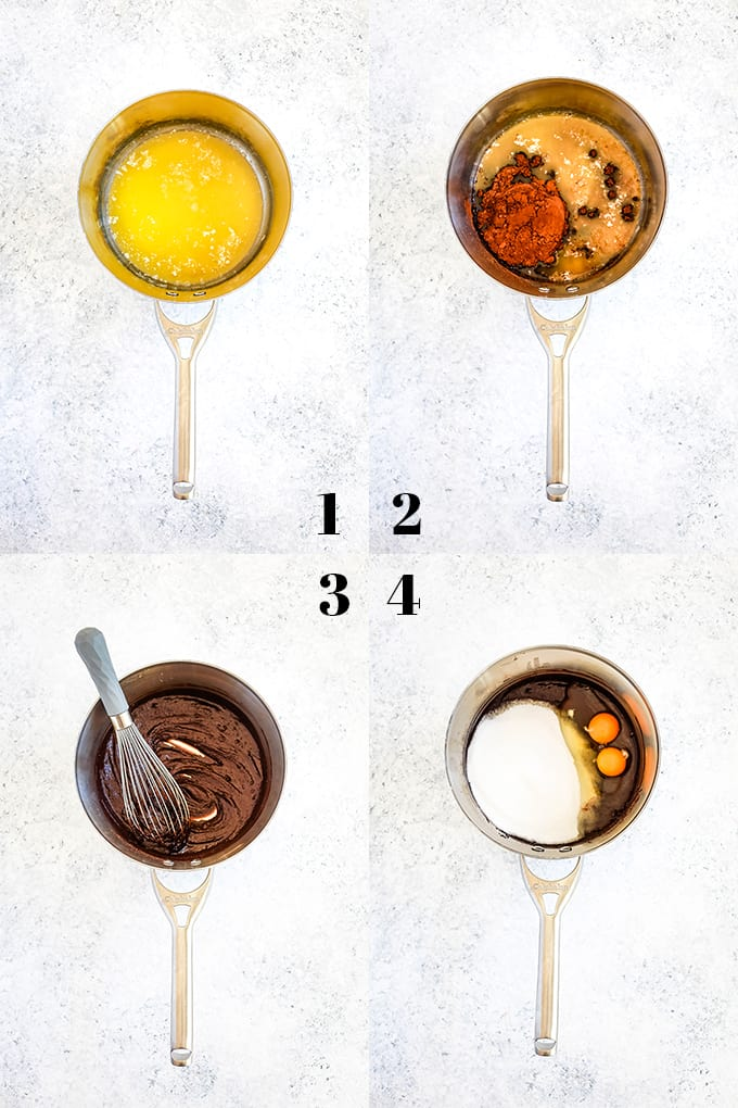 How to prepare Butterscotch Marshmallow Brownies, steps 1-4.