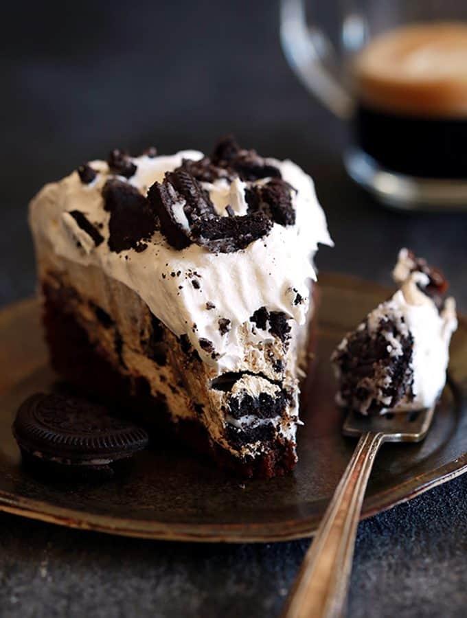 Coffee Cookies and Cream Cheesecake Brownie Cake | Melanie Makes