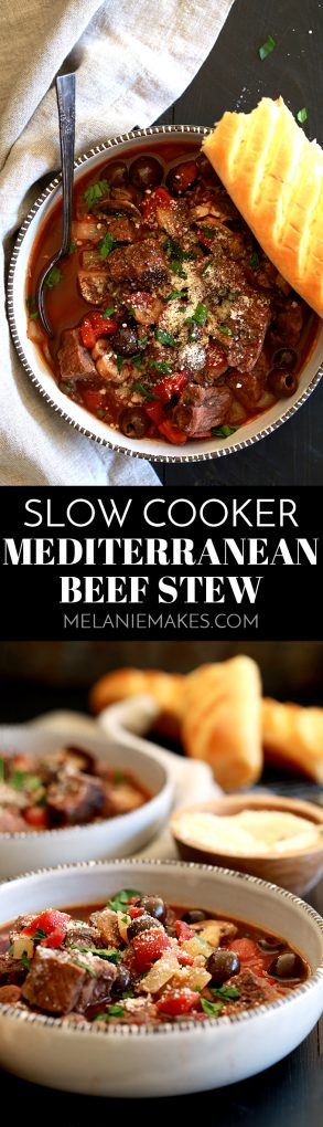 A balsamic vinegar spiked broth is the base of thisSlow Cooker Mediterranean Beef Stew that's dotted with stew meat, tomatoes, mushrooms, olives and capers. Each bowl of this rich and hearty stew is then sprinkled with fresh parsley and grated Parmesan cheese which helps to brighten the flavors as well as to really up the flavor ante.