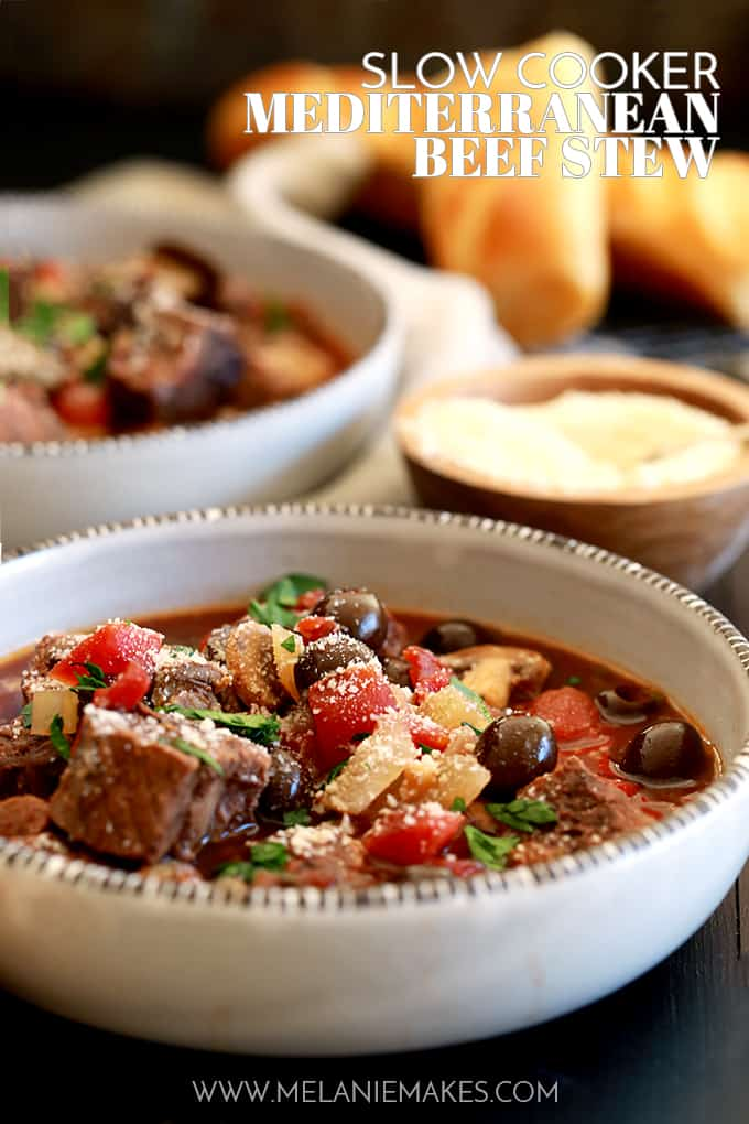 A balsamic vinegar spiked broth is the base of this Slow Cooker Mediterranean Beef Stew that's dotted with stew meat, tomatoes, mushrooms, olives and capers.  Each bowl of this rich and hearty stew is then sprinkled with fresh parsley and grated Parmesan cheese which helps to brighten the flavors as well as to really up the flavor ante.