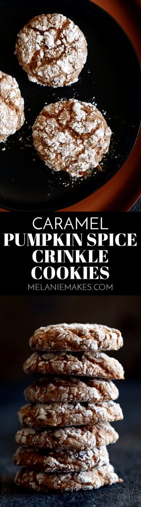 A stack of Caramel Pumpkin Spice Crinkle Cookies on a black background. #caramel #pumpkinspice #cookies #cookierecipes #melaniemakes