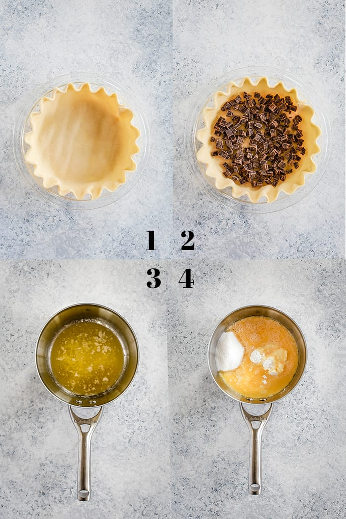 Step by step photos on how to create Chocolate Pecan Coconut Custard Pie on a white speckled background.