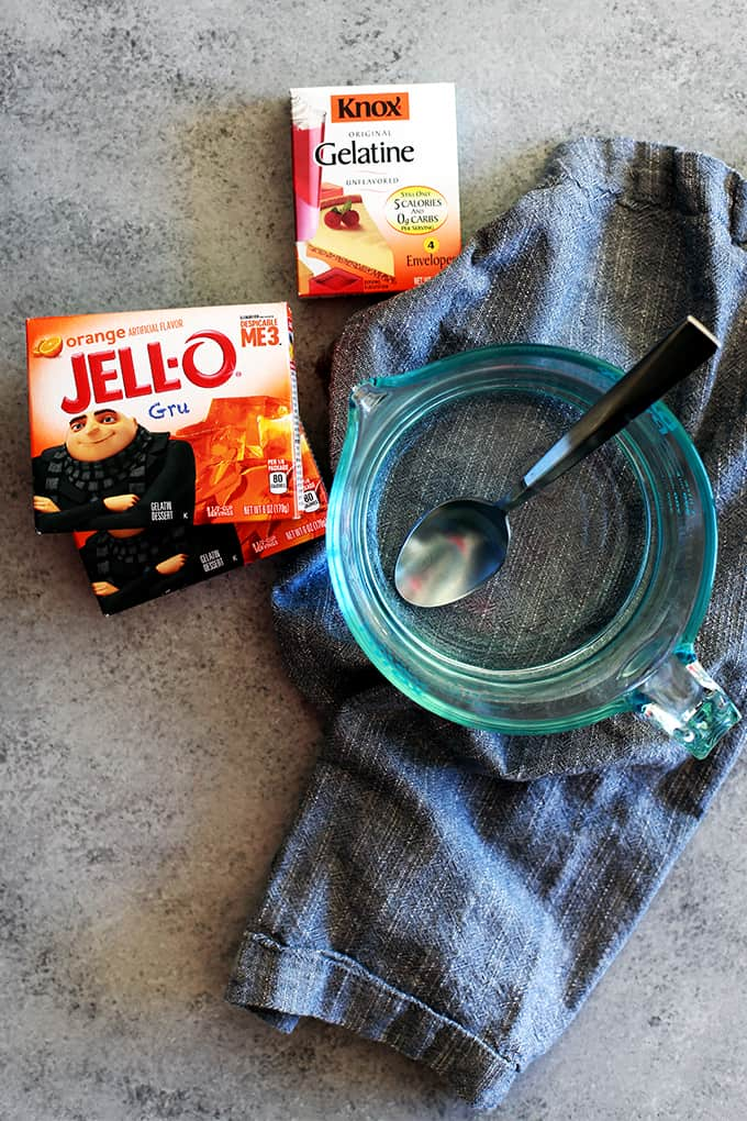 Nana's Finger Jello is possibly the easiest - and ask my menagerie, the most delicious! - thing to come out of my kitchen. Any dessert that takes just five minutes and three ingredients to prepare is a winner in my book. Jello, Knox gelatin and boiling water are whisked together to create this classic treat.