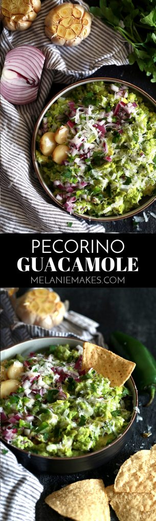 This Pecorino Guacamole begins with roasted garlic, red onion and jalapeño that are mashed with fresh avocado before being showered with Pecorino Romano cheese. Thiseasy guacamole recipe is then seasoned with salt and pepper and garnished with additional onion, jalapeño, parsley and a drizzle of agave nectar.