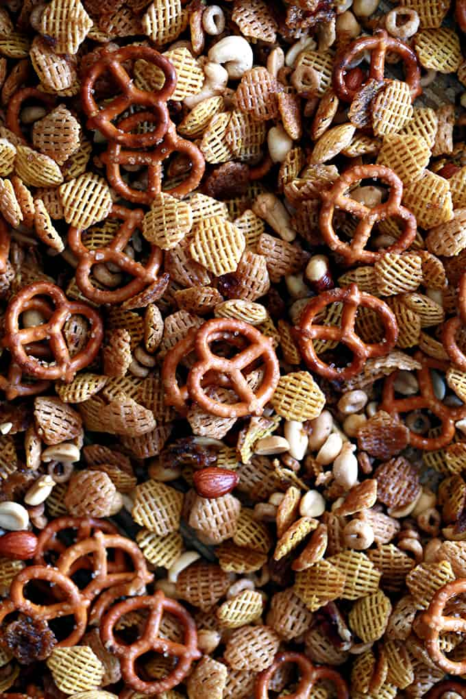 What separates my Bolder Party Mix from the rest of the snack mix recipe contenders?  Mine has more of the good stuff!  I've upped the flavor ante by more than doubling the amount of the typically called for butter, Worcestershire sauce, lemon juice and spices but I also add a teaspoon of Tabasco sauce to add just a little more oomph in the flavor department.