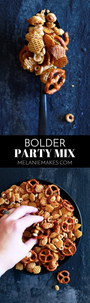 What separates my Bolder Party Mix from the rest of the snack mix recipe contenders? Mine has more of the good stuff! I've upped the flavor ante by more than tripling the amount of the typically called for seasonings to add just a little more oomph in the flavor department. #chexmixrecipes #snacks #appetizers #cereal #pretzels