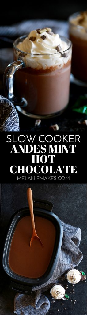Who would believe you could make hot chocolate for 15 people in just five minutes?  This Slow Cooker Andes Mint Hot Chocolate is here to make a believer out of any naysayer.   Whole milk, heavy cream, cocoa, sugar and Andes Mints are whisked together into a velvety chocolate treat that will knock any coffeehouse's version down flat.