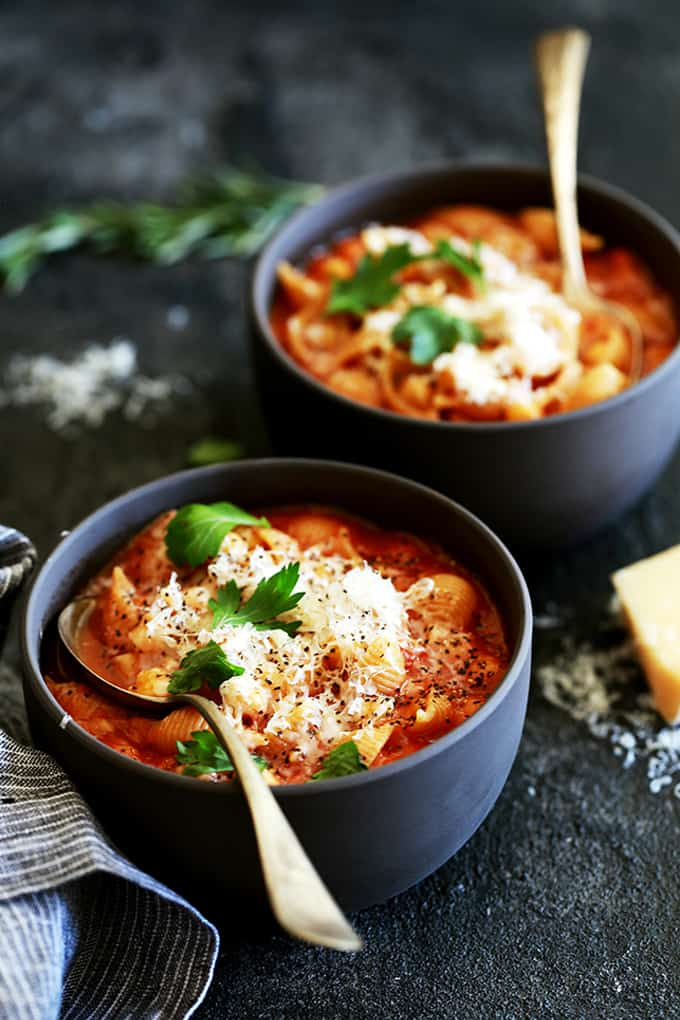 Chickpea and Pasta Soup - Melanie Makes