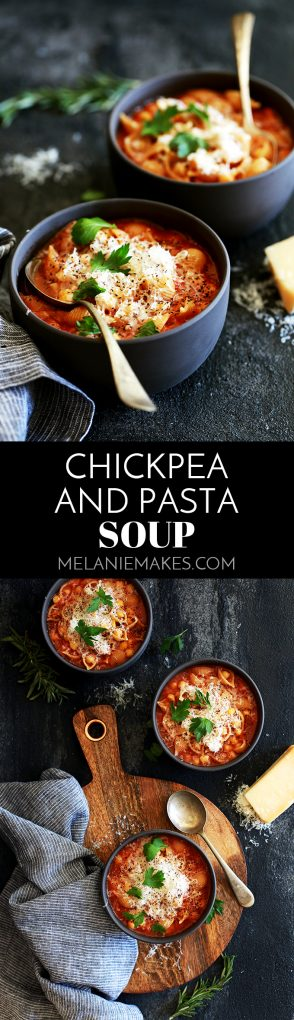 This Chickpea and Pasta Soup is the reason you'll never buy a can of chickpeas again.  The heavy handed shower of Parmesan and chopped fresh parsley that top each bowl really seal the deal on this becoming your new favorite soup. #chickpeas #garbanzos #pasta #pastafoodrecipes #soup #comfortfood