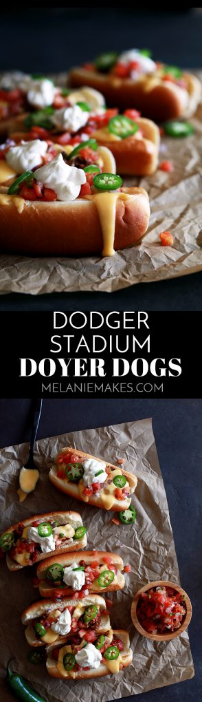 My Dodger Stadium Doyer Dogs are like bringing the ballpark home, but with a more flavorful punch!  This hot dog is nestled in a pillowy bun before being covered with my Beer Braised Beanless Chili, Beer Cheese Fondue, pico de gallo, sour cream and sliced jalapeños.