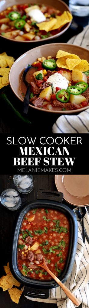 This Slow Cooker Mexican Beef Stew one of those slow cooker recipes where everything is simply added to the slow cooker, the lid goes on, you hit the start button and forget about it.  #stew #soup #souprecipes #mexicanfoodrecipes #comfortfood #slowcooker #crockpot