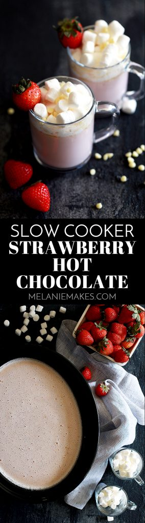 This velvety Slow Cooker Strawberry Hot Chocolate can not only be made ahead of time, but can also serve a crowd.  You'll be amazed that something that uses just five ingredients and takes just five minutes to prepare can be so delicious! #strawberry #hotchocolate #hotcocoa #slowcooker #crockpot #pink