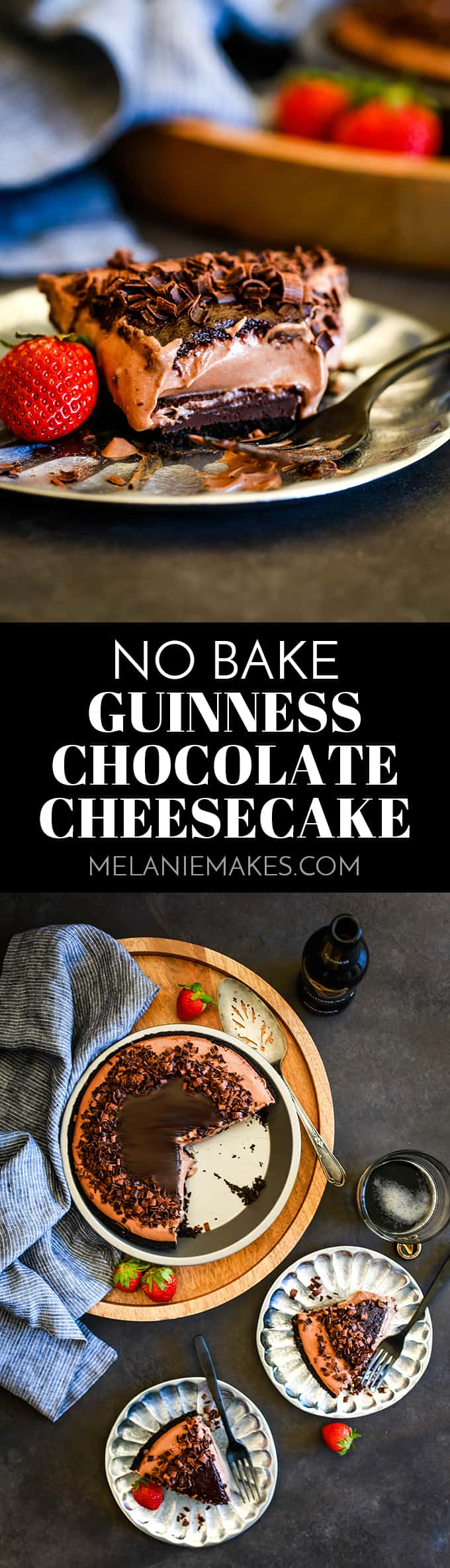 Chocolate and beer lovers will no doubt love this No Bake Guinness Chocolate Cheesecake and the fact that it takes just 15 minutes to prepare. #nobake #cheesecake #chocolate #desserts #easyrecipe #guinness #beer