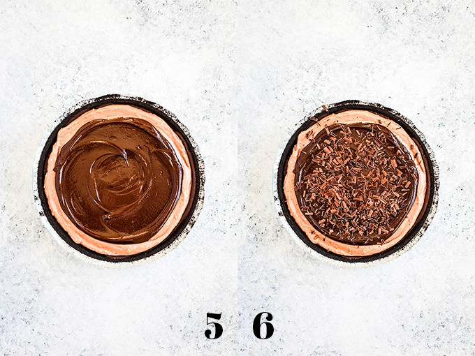 How to make a No Bake Guinness Chocolate Cheesecake, steps 5-6.