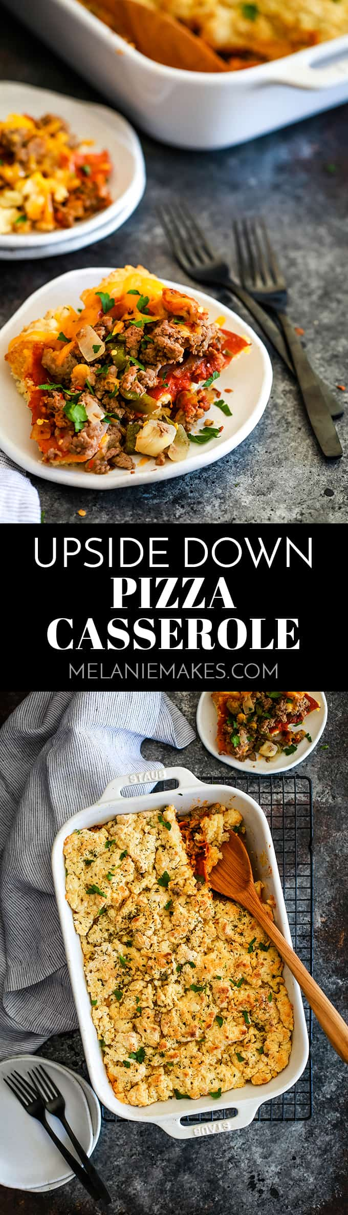 This Upside Down Pizza Casserole is a family favorite with the flavor volume turned way up!  Haven't you heard? Crust on top is way more fun! #pizza #casserole #dinnerrecipes #easyrecipe #beef #sausage