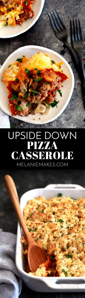 This Upside Down Pizza Casserole is a family favorite with the flavor volume turned way up!  Ground beef and Italian sausage, onions, green pepper and pepperoni are topped with pizza sauce, sharp cheddar cheese slices and a homemade biscuit mixture to create the ultimate comfort food.