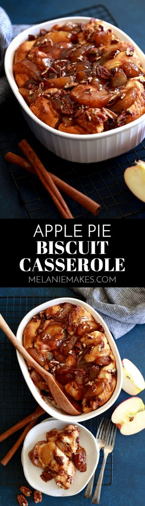 Thanks to an ingredient shortcut, this Apple Pie Biscuit Casserole comes together in just 10 minutes. This comforting dish is equally perfect for a lazy weekend breakfast or dressed up holiday brunch.
