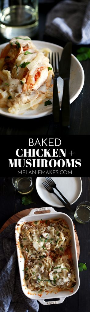 This Baked Chicken and Mushrooms is all about flavor.  Layers and layers of flavor.  Chicken breasts are sprinkled with smoked Spanish paprika before being piled high with sliced onions and mushrooms.  It's all then topped with a melty cap of mozzarella cheese.