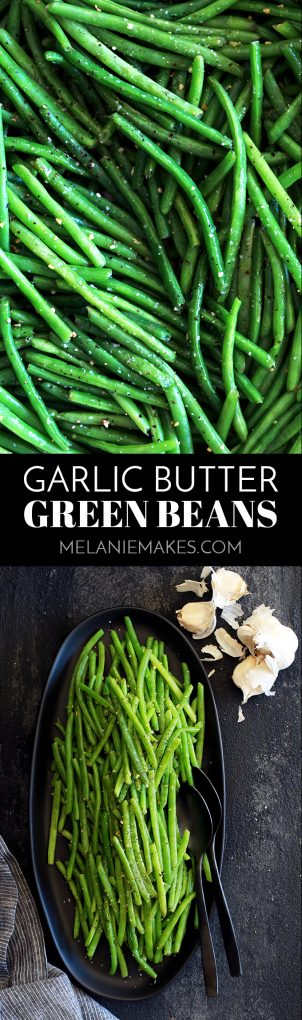 These Garlic Butter Green Beans are the perfect ace to have up your sleeve to serve with just about anything.  Using just three ingredients and taking only 20 minutes from start to finish, fresh green beans are trimmed and simmered until crisp tender before being bathed in butter and fresh garlic and seasoned with salt and pepper. #sidedish #greenbeans #garlic #butter