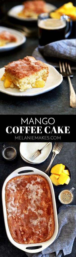This delicious Mango Coffee Cake is a tropical sensation!  Fresh mango is folded into a light cake batter before being dusted with cinnamon and sugar. #mango #coffeecake #breakfast #brunch #cake #easyrecipe