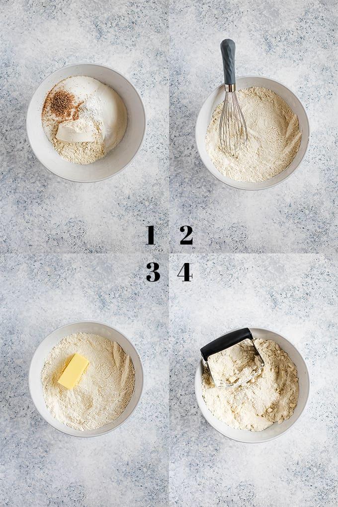 How to prepare Mango Coffee Cake, steps 1-4.