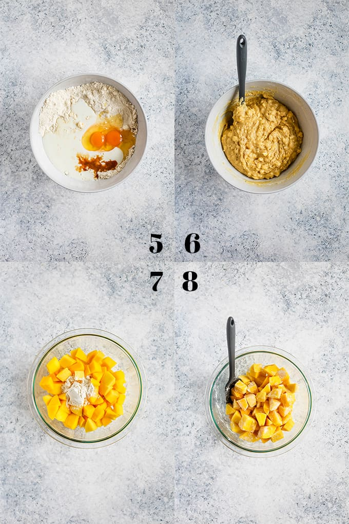 How to prepare Mango Coffee Cake, steps 5-8.