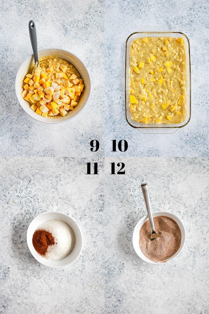 How to prepare Mango Coffee Cake, steps 9-12.