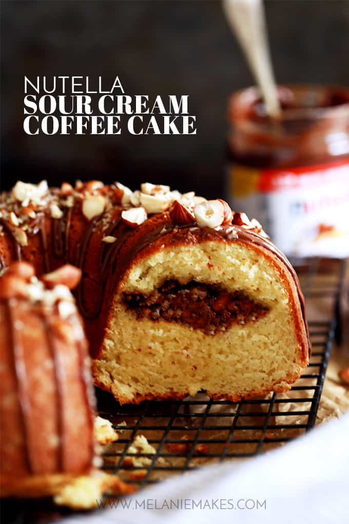 An entire cup of sour cream in this Nutella Sour Cream Coffee Cake insures a tender end result.  Not only does this cake feature a tunnel of Nutella and chopped hazelnuts throughout the inside of the cake, but the finished cake is also garnished with drizzled Nutella and more chopped hazelnuts.  In other words, it's heaven in coffee cake form.