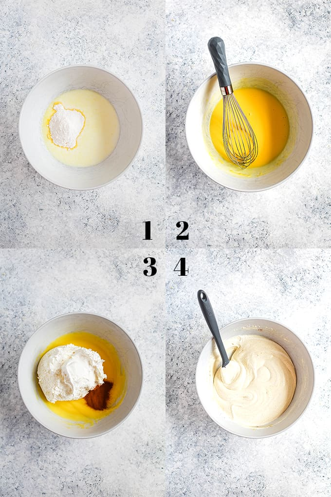 How to prepare Cinnamon Cool Whip Frosting, steps 1-4.