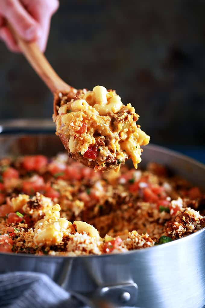 My Green Chile and Chorizo Mac and Cheese is a knock off of ballpark food but with the flavor dial turned up a notch.   Diced green chiles are stirred into a melty and luscious macaroni and cheese that's been spiked with your favorite beer.  Topped with chorizo, panko bread crumbs and pico de gallo, it's sure to have your taste buds on alert.