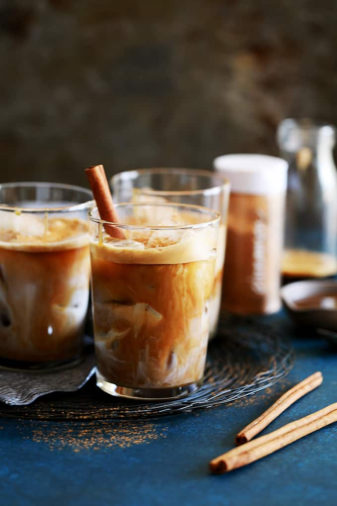 Iced Cinnamon Almond Milk Macchiato | Melanie Makes