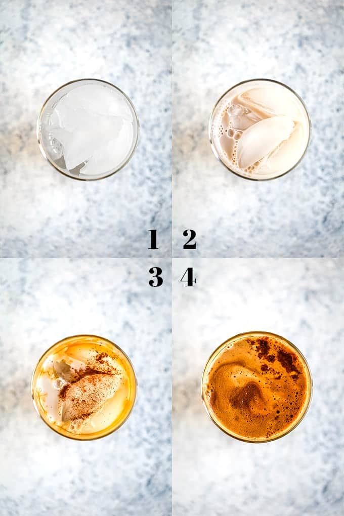 How to prepare and Iced Cinnamon Almond Milk Macchiato, steps 1-4.